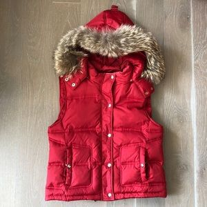 Saks Fifth Red Puffer Vest with Fur Trimmed Hood